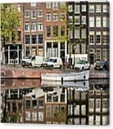 Amsterdam Houses By The Singel Canal Canvas Print
