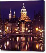 Amsterdam In The Netherlands By Night Canvas Print