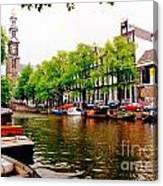 Amsterdams Westerkerk From The Canal  Canvas Print