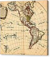 Amtique Map Americas Canvas Print