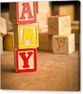 Amy - Alphabet Blocks Canvas Print