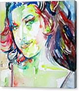 Amy Winehouse Watercolor Portrait.1 Canvas Print
