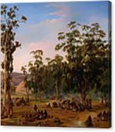 An Aboriginal Encampment Near The Adelaide Foothills Canvas Print