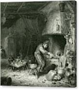 An Alchemist At Work, While  His Wife Canvas Print