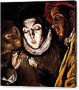 An Allegory With A Boy Lighting A Candle In The Company Of An Ape And A Fool Canvas Print
