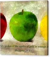 An Apple A Day With Proverbs Canvas Print