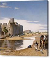 An Arab Caravan Outside A Fortified Town Canvas Print