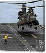 An Army Mh-47g Chinook Conducts Deck Canvas Print