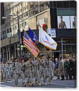 An Army Outfit Marching In The 2009 New York St. Patrick Day Parade Canvas Print