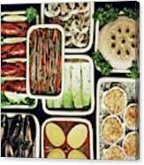 An Assortment Of Food In Containers Canvas Print