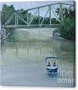 An Evening  Boat Ride On Lachine Canal Canvas Print