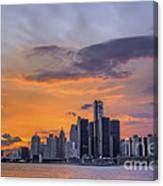 An Evening In Detroit Michigan  Canvas Print