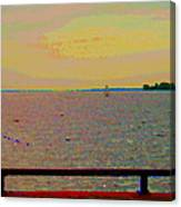 An Expanse Of Sky And Sea Twilight Fishing The Canal St Lawrence River Scenes Art Carole Spandau Canvas Print