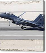 An F-15c Eagle Landing On The Runway Canvas Print