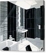 An Illustration Of A Bathroom Canvas Print