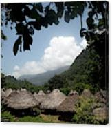 An Indigenous Village In The Jungles Canvas Print