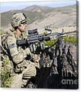 An Infantryman Provides Overwatch Canvas Print