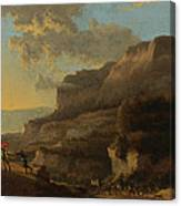 An Italianate Landscape With Travellers Ambushed By Bandits Canvas Print