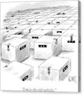 An Office  Full Of Locked Boxes With Eyes Looking Canvas Print