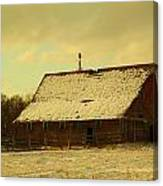 An Old Barn Just After An Early Spring Snow In Keene North Dakota  Canvas Print