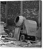 An Old Cement Mixer And Construction Material Canvas Print