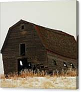 An Old Leaning Barn In North Dakota Canvas Print