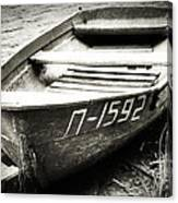 An Old Row Boat In Black And White Canvas Print