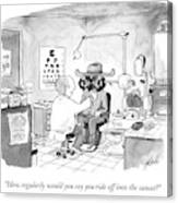 An Optometrist Examines A Cowboy Canvas Print