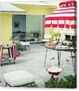 An Outside Area Set Up For A Party Canvas Print