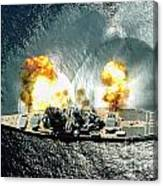 An Overhead View Of The Battleship Uss Iowa Bb61 Firing All 15 Of Its Guns Canvas Print