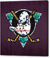 Anaheim Ducks Hockey Team Retro Logo Vintage Recycled California License Plate Art Canvas Print