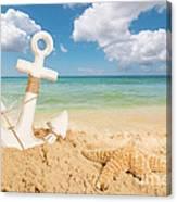 Anchor On The Beach Canvas Print