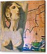 Ancient Cyprus Map And Aphrodite Canvas Print