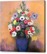 Anemones And Lilac In A Blue Vase Canvas Print