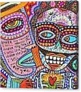 Angel And Frida Sugar Skull Lovers' Canvas Print