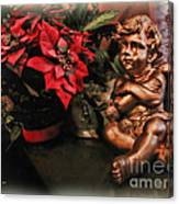 Angel And Poinsettia Canvas Print