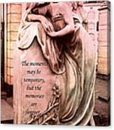 Angel Art - Memorial Angel Weeping Sorrow At Grave With Inspirational Message - Memories Are Forever Canvas Print