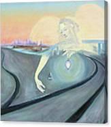 Angel Bringing Light To Meditating Woman At The Train Tracks Canvas Print