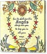 Angel Fraktur Painting Canvas Print