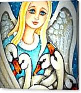 Angel Sheltering Seven Swans Canvas Print