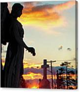 Angel Silhouette In Burst Of Colors Canvas Print