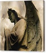 Angel Wings Praying - Spiritual Angel In Clouds Canvas Print
