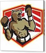 Angry Bear Boxer Boxing Retro Canvas Print