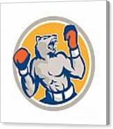 Angry Bear Boxer Gloves Circle Retro Canvas Print