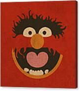 Animal Muppet Vintage Minimalistic Illustration On Worn Distressed Canvas Series No 008 Canvas Print