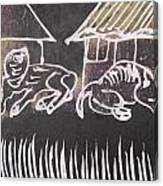 Animals Pose In The Remote Village. Canvas Print