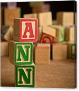 Ann - Alphabet Blocks Canvas Print