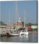 Annapolis Harbor Alongside Dock Street Canvas Print