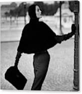 Anne St. Marie Wearing A Sealskin Cape Canvas Print