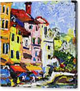 Annecy France Canal And Bistros Impressionism Knife Oil Painting Canvas Print